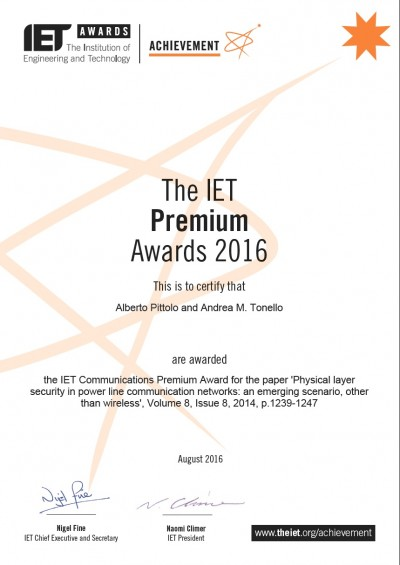 Won the IET 2016 Premium Award