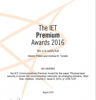 Won the IET 2016 Premium Award